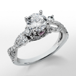 Monique Lhuillier Twist Diamond Engagement Ring in Platinum