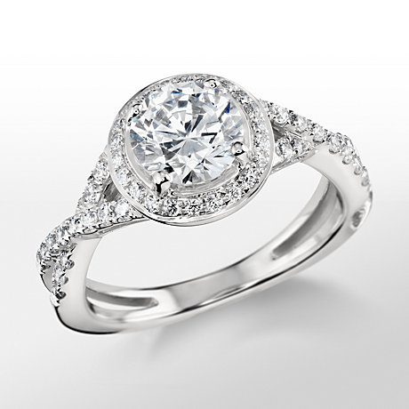 Monique Lhuillier Twist Halo Engagement Ring
