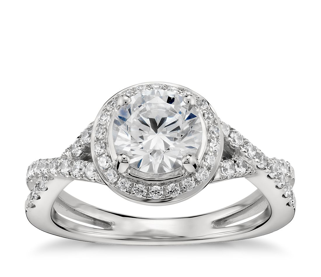 Monique Lhuillier Twist Halo Engagement Ring In Platinum Blue Nile