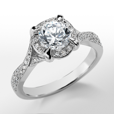 Monique Lhuillier Twisted Diamond Engagement Ring in Platinum