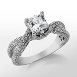 Monique Lhuillier Twist Trellis Engagement Ring in Platinum