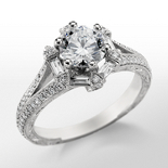 Monique Lhuillier Vintage Hexagon Engagement Ring in Platinum