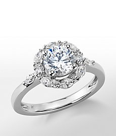 Monique Lhuillier Wreath Halo Diamond Engagement Ring