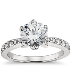 Monique Lhuillier Pavé Petal Engagement Ring in Platinum