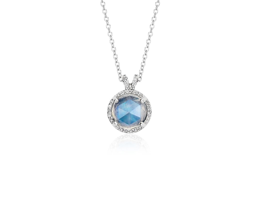 Moonstone and Diamond Round Pendant in 14k White Gold (8mm)