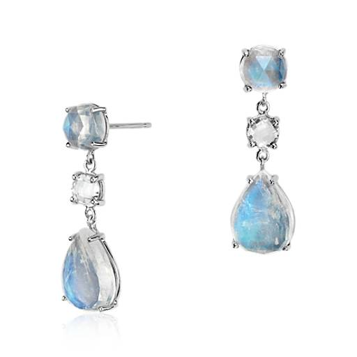 Moonstone and White Topaz Teardrop Earrings in 14k White Gold (11x8mm)
