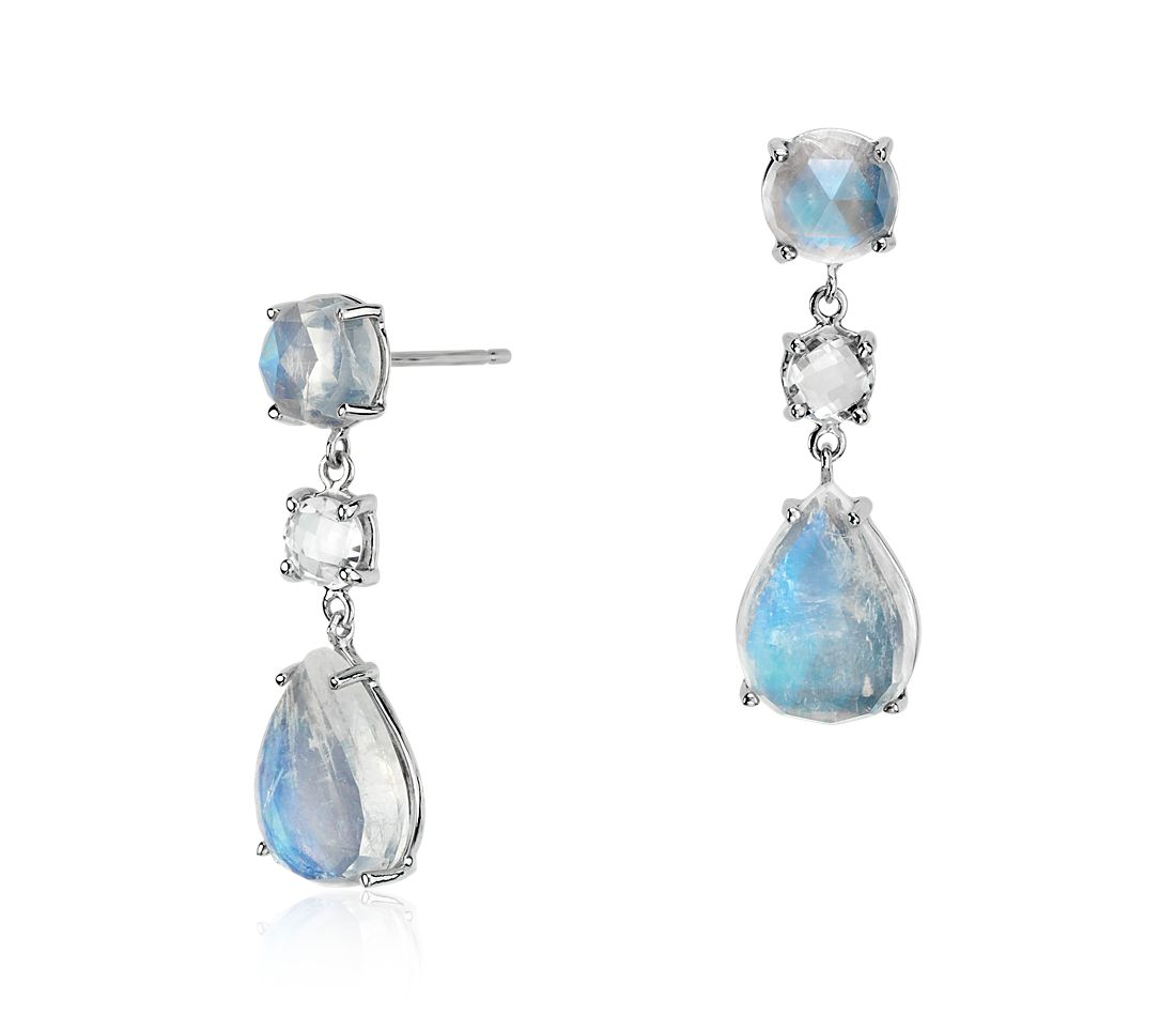 Moonstone and White Topaz Teardrop Earrings in 14k White Gold