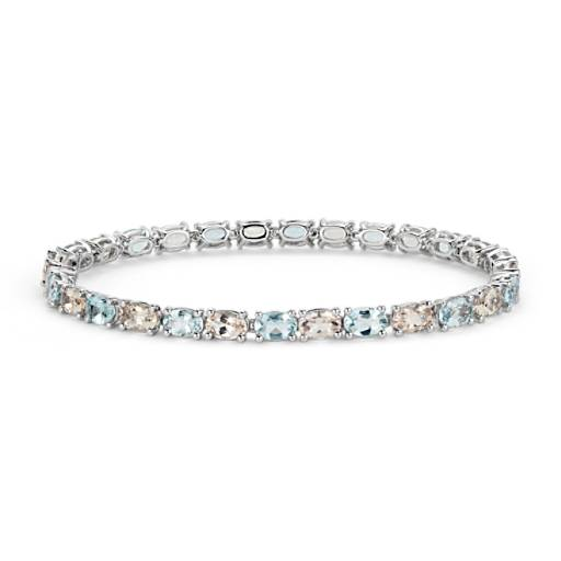 Morganite and Aquamarine Bracelet in 14k White Gold (6x4mm)