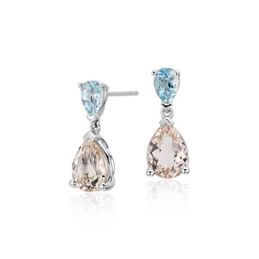 Morganite and Aquamarine Drop Earrings in 14k White Gold (9x7mm)