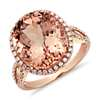 Bague diamant et morganite en or rose 14 carats