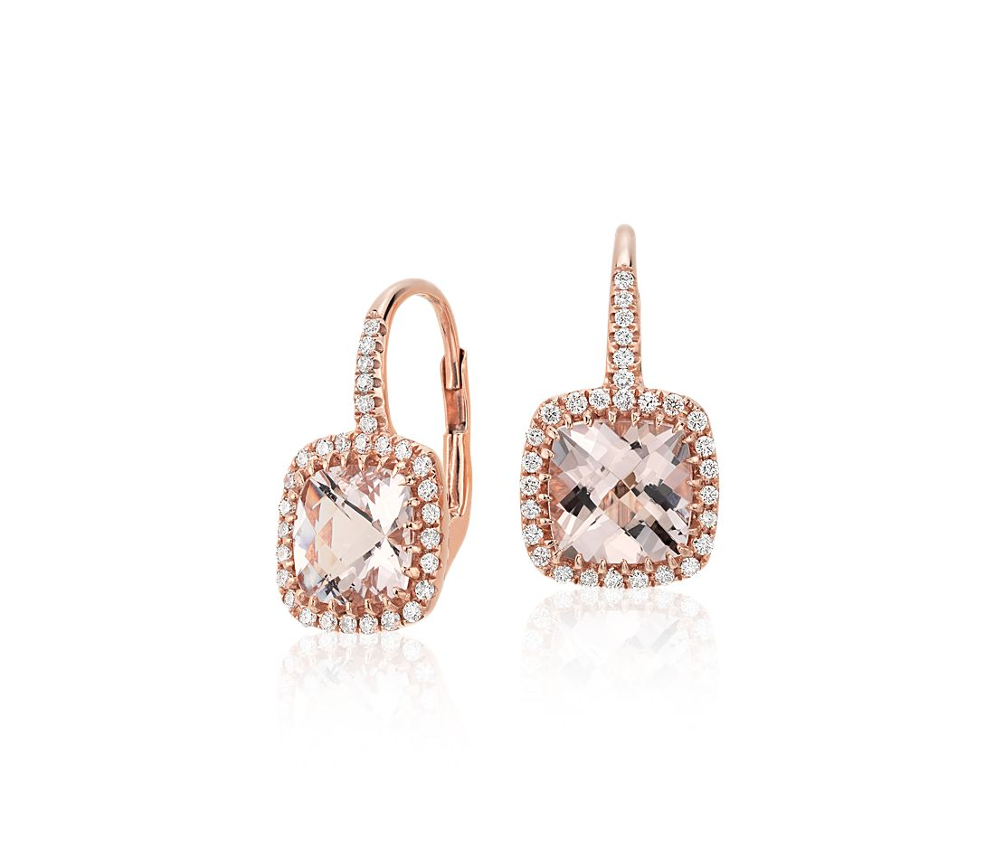 Morganite and Diamond Cushion Drop Earrings in 14k Rose Gold