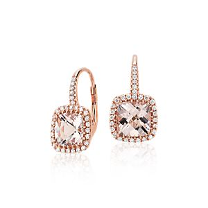 Pendants d'oreilles coussin diamant et morganite en or rose 14 carats (7 x 7 mm)
