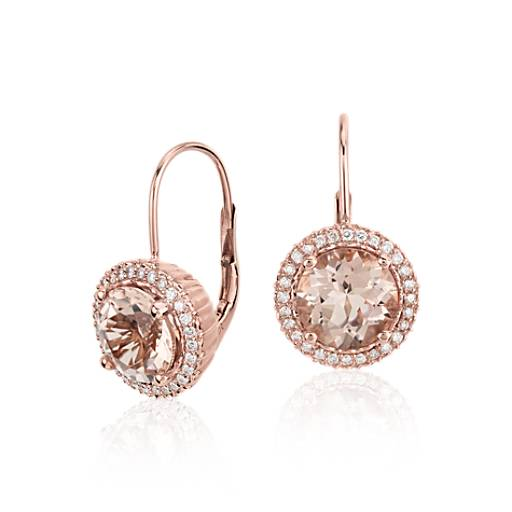 NEW Robert Leser Morganite and Diamond Drop Earrings in 14k Rose Gold (8mm)