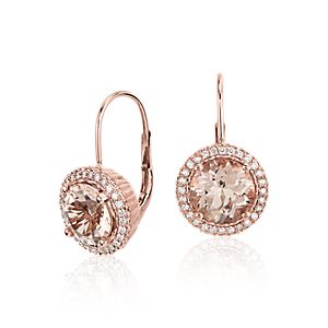 Robert Leser Pendants d'oreilles en diamant et morganite en or rose 14 carats (8 mm)