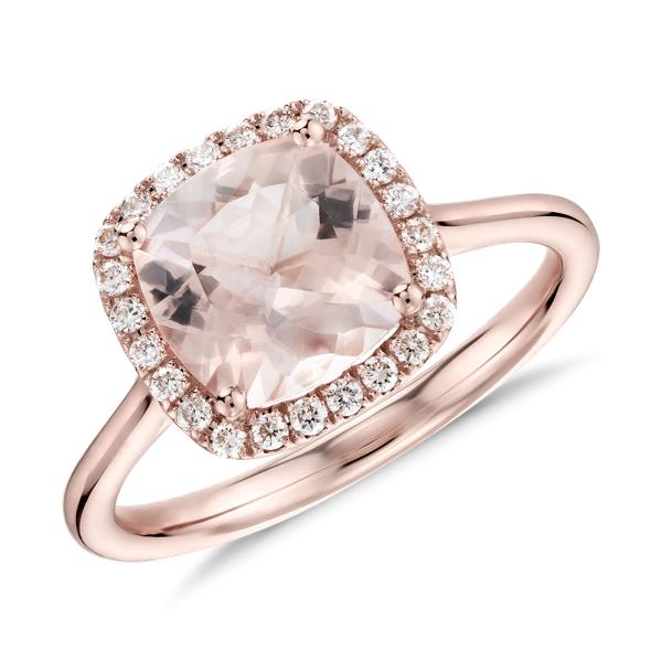 Anillo de Morganita de talla cojín y halo de diamantes en oro rosado de 14k (8mmx8mm)