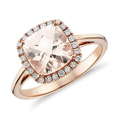 Morganite and Diamond Halo Cushion Ring featured in Brides