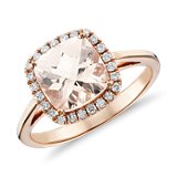 Morganite and Diamond Halo Cushion-Ring in 14k Rose Gold (0.17 ct. tw.)
