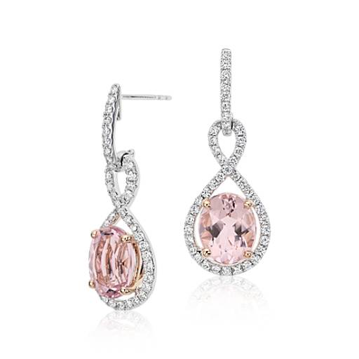 Morganite and Diamond Infinity Earrings in 18k White and Rose Gold