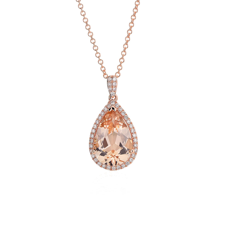 Colgante de morganita y diamantes con halo en oro rosado de 14k (13mmx9mm)
