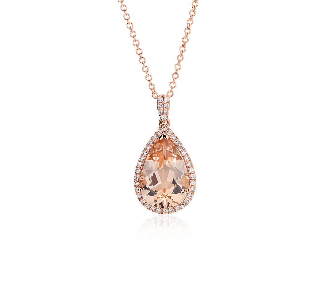 Morganite and Diamond Halo Pendant in 14k Rose Gold