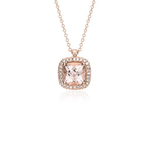 NEW Robert Leser Morganite and Diamond Halo Pendant in 14k Rose Gold (8x8mm)