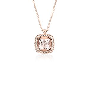 Robert Leser Morganite and Diamond Halo Pendant in 14k Rose Gold (8x8mm)