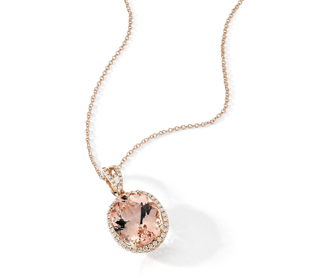 Morganite and Diamond Halo Pendant in 14k Rose Gold (0.27 ct. tw.)