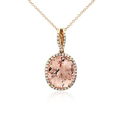 Morganite and Diamond Halo Pendant in 14k Rose Gold (0.27 ct. tw.) (14x12mm)