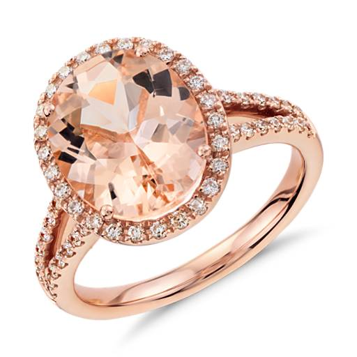 Bague diamant et morganite en or rose 14 carats (11x9 mm)