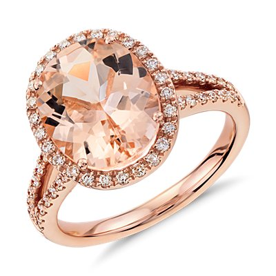 Bague diamant et morganite en or rose 14 carats (11 x 9 mm)