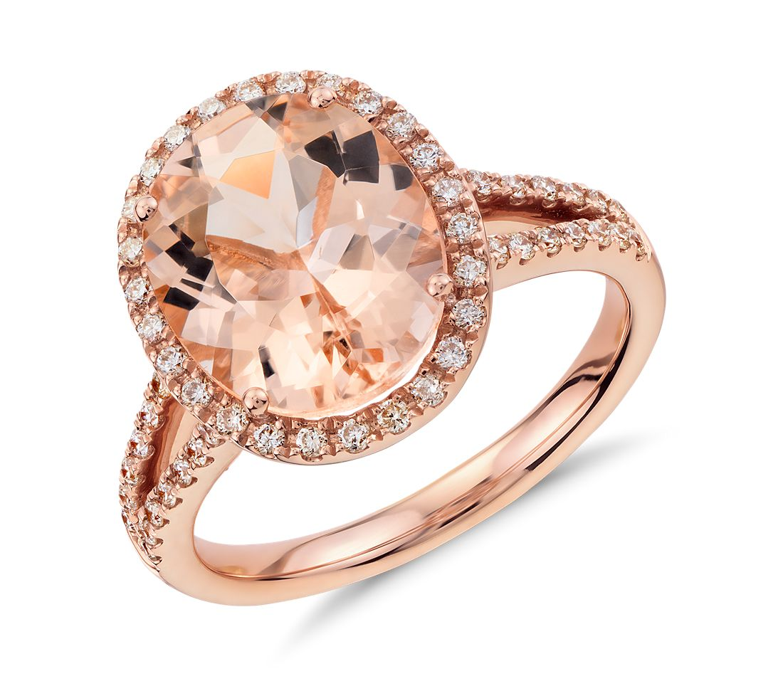 Morganite And Diamond Ring In 14k Rose Gold 11x9mm