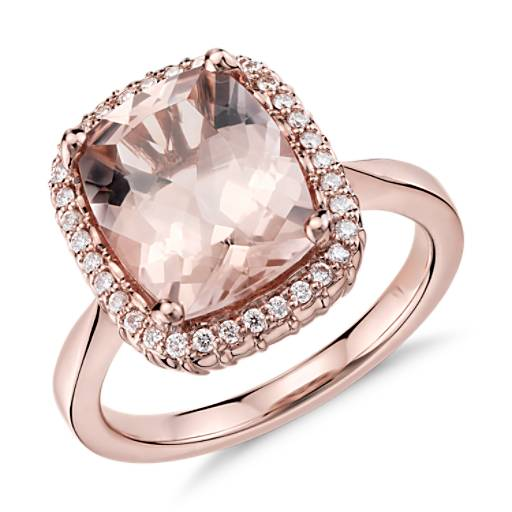 NEW Robert Leser Morganite and Diamond Ring in 14k Rose Gold (11x9mm)