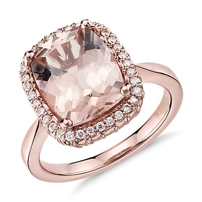 Robert Leser Bague diamant et morganite en or rose 14 carats (11x9 mm)