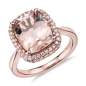 Robert Leser Bague diamant et morganite en or rose 14 carats (11 x 9 mm)