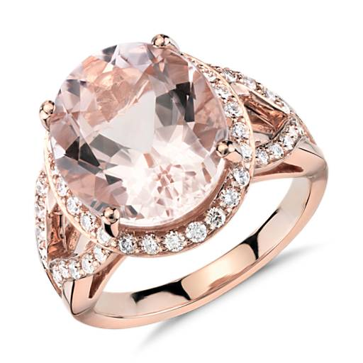 Morganite and Diamond Ring in 18k Rose Gold (13x11mm)