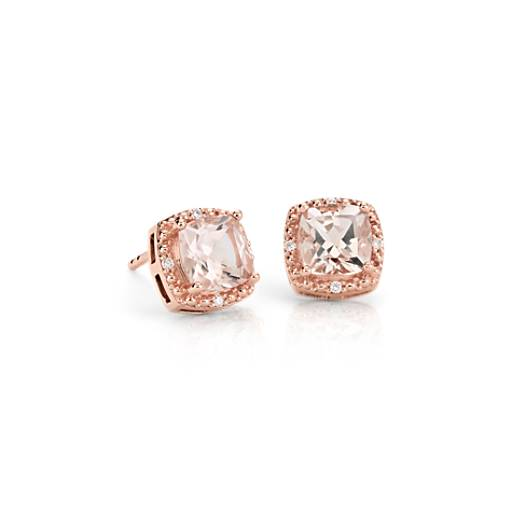 Morganite Halo Stud Earrings in 14k Rose Gold (6mm)
