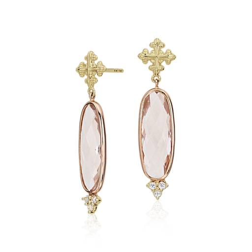 Sloane Street Elongated Morganite Earrings in 18k Yellow Gold