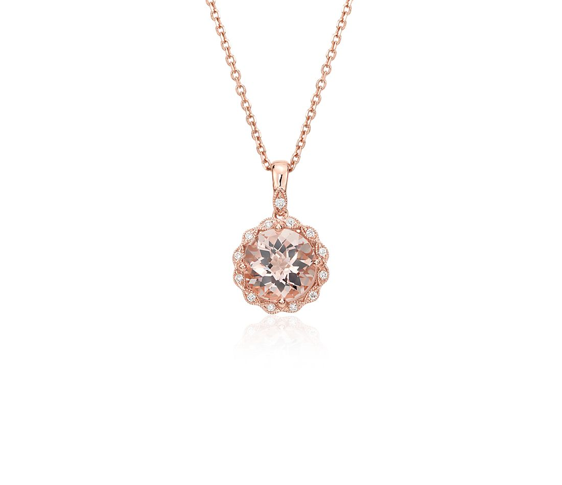 Morganite And Diamond Milgrain Halo Pendant Necklace In