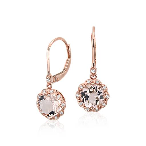 NOUVEAU Boucles d'oreille à fermoir mousqueton mille-grains halo diamant et morganite en or rose 14 carats (7 mm)