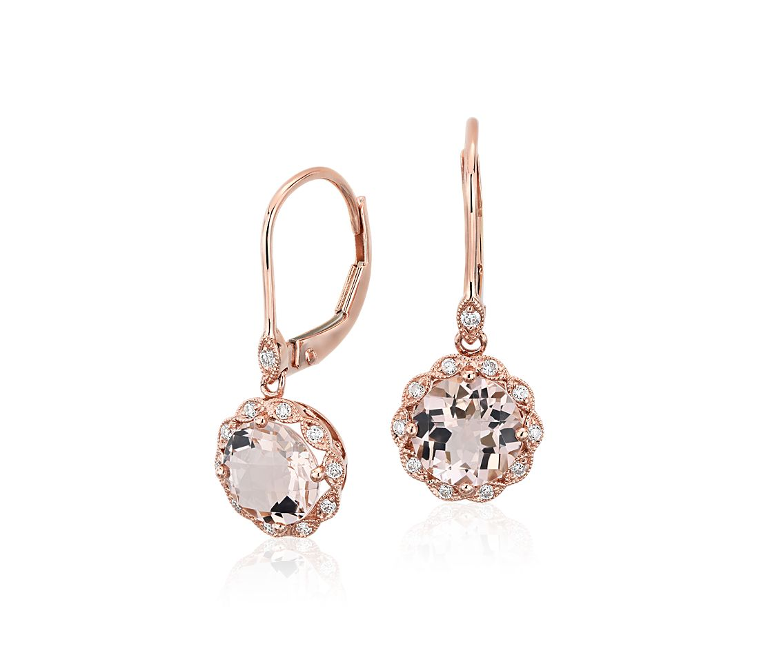 Morganite and Diamond Milgrain Halo Leverback Earrings in ...