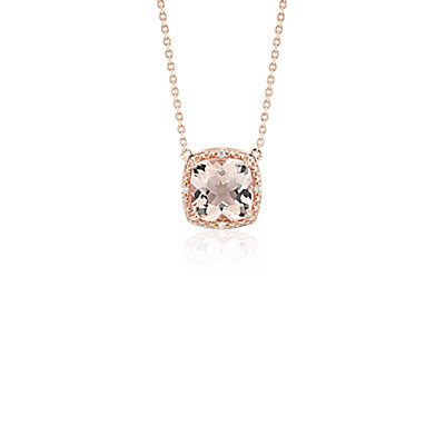 NEW Morganite and Diamond Halo Necklace in 14k Rose Gold (8mm)