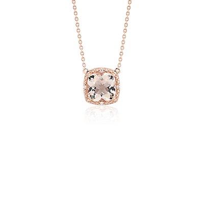 NUEVO. Collar con morganita y halo de diamantes, en oro rosado de 14k (8mm)