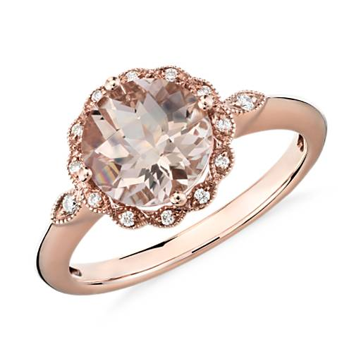 NOUVEAU Bague halo mille-grains diamant et morganite en or rose 14 carats (8 mm)