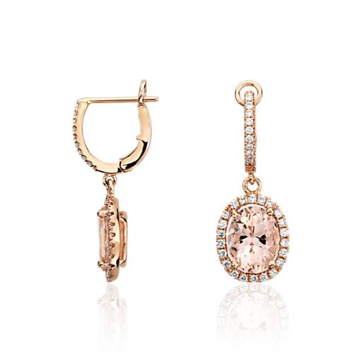 Morganite and Diamond Earrings in 14k Rose Gold (0.44 ct.tw.) (9x7mm)