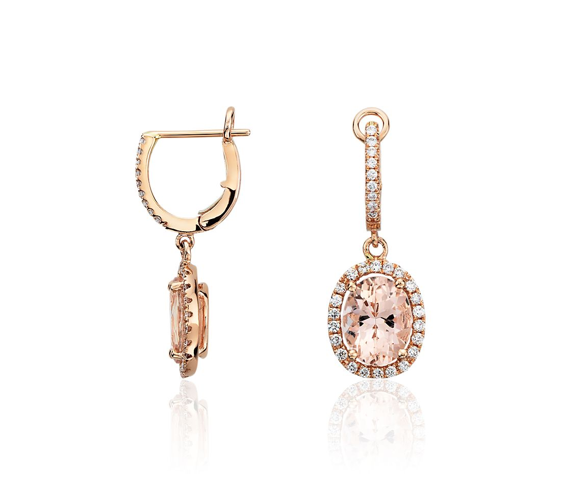 morganite and diamond earrings in 14k rose gold ct