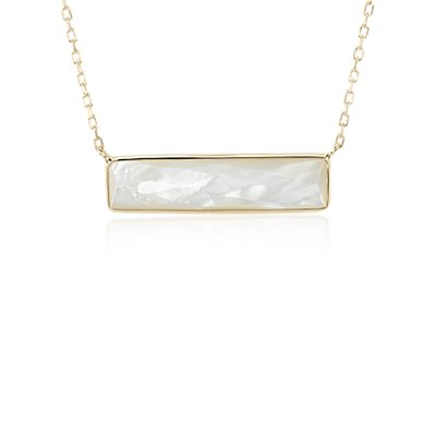 NEW Mother of Pearl Bar Necklace in 14k Yellow Gold