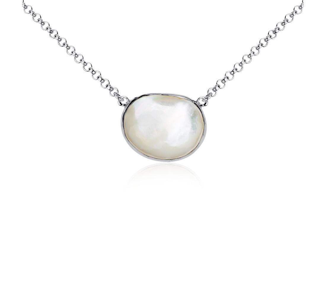 Mother of Pearl Bezel Station Necklace in Sterling Silver
