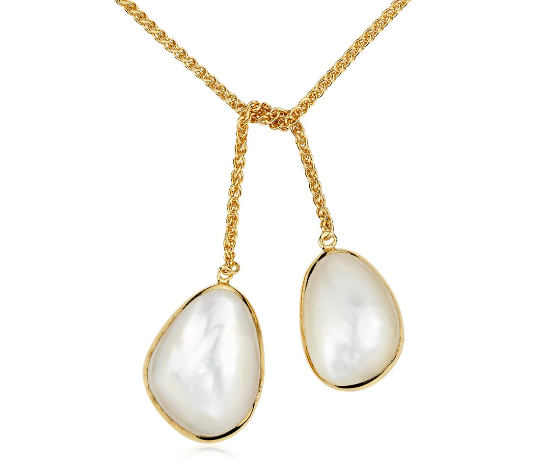Mother of Pearl Double Tie Necklace in Gold Vermeil
