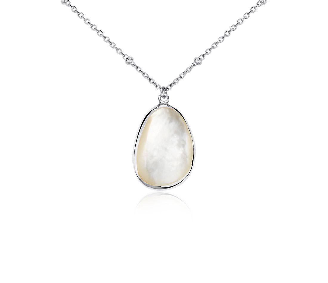 Mother of Pearl Drop Pendant in Sterling Silver