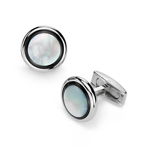 Mother of Pearl and Onyx Cuff Links in Stainless Steel